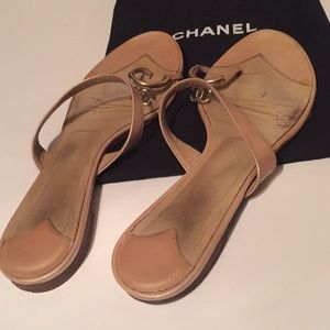 Authentic Chanel Classic CC Toe Ring Sandals
